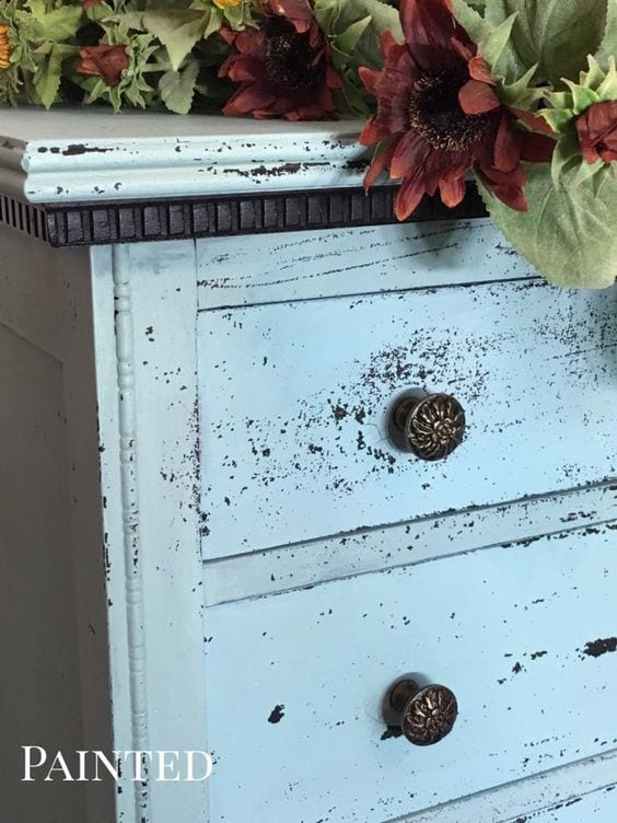 chippy blue dresser