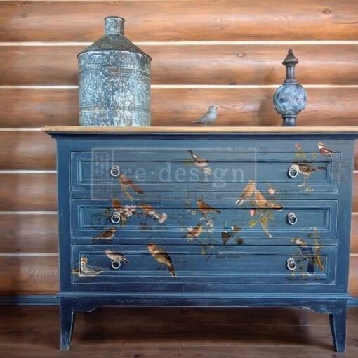 postal bird blue dresser