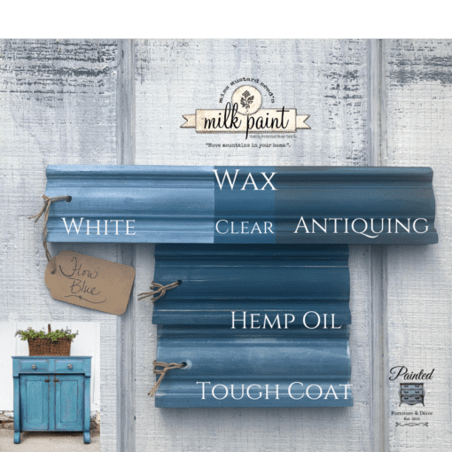 Flow Blue Milk Paint with top coats