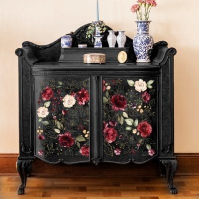 midnight floral transfer display
