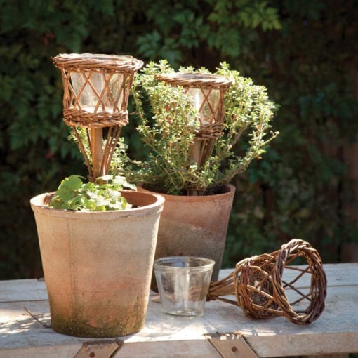 willow garden stake candle holder